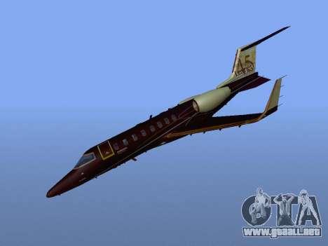 Bombardier Learjet 45 para GTA San Andreas vista hacia atrás
