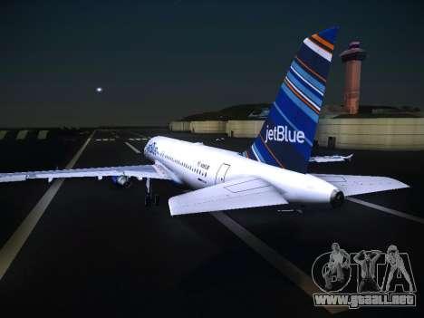 Airbus A320 JetBlue para GTA San Andreas vista hacia atrás
