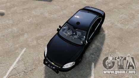 Chevrolet Impala 2010 LS Unmarked K9 Unit [ELS] para GTA 4 visión correcta