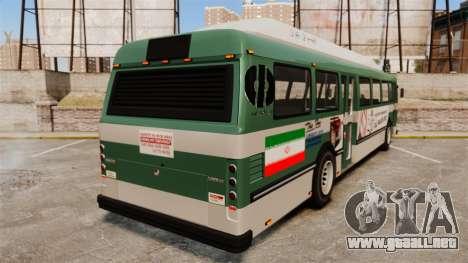 Iraní de pintura de autobuses para GTA 4 Vista posterior izquierda