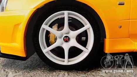 Nissan Skyline ER34 GT-R para GTA 4 vista hacia atrás