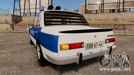 Wartburg 353w Deluxe Hungarian Police para GTA 4 Vista posterior izquierda