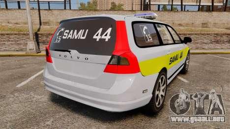 Volvo V70 SAMU 44 [ELS] para GTA 4 Vista posterior izquierda