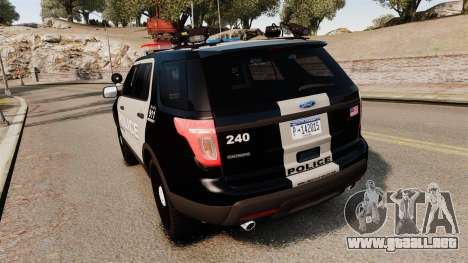 Ford Explorer 2013 LCPD [ELS] Black and Gray para GTA 4 Vista posterior izquierda