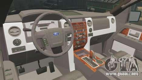 Ford F-150 2010 Liberty City Service Truck [ELS] para GTA 4 vista interior