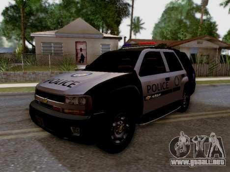Chevrolet TrailBlazer Police para GTA San Andreas vista hacia atrás
