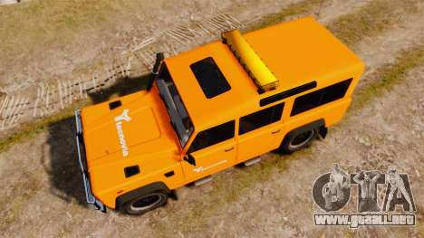 Land Rover Defender tecnovia [ELS] para GTA 4 visión correcta