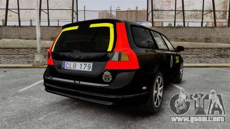 Volvo V70 Swedish TULL [ELS] para GTA 4 Vista posterior izquierda