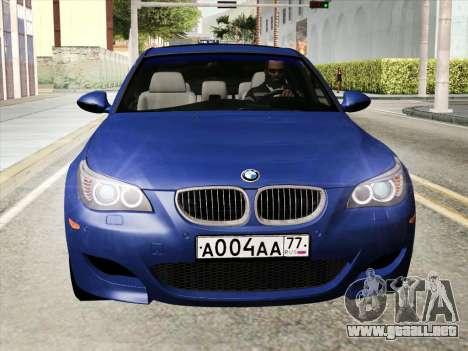 BMW M5 E60 2010 para GTA San Andreas vista posterior izquierda