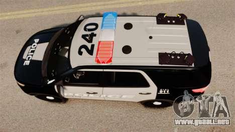 Ford Explorer 2013 LCPD [ELS] Black and Gray para GTA 4 visión correcta