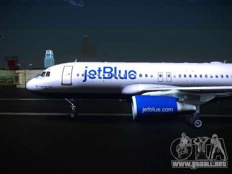 Airbus A320 JetBlue para GTA San Andreas vista posterior izquierda