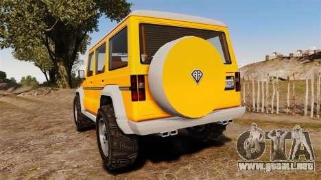 GTA V Benefactor Dubsta new wheels para GTA 4 Vista posterior izquierda