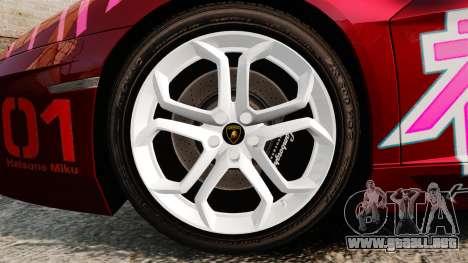 Lamborghini Aventador LP700-4 2012 [EPM] Miku para GTA 4 vista hacia atrás