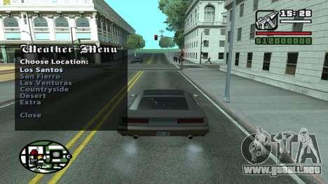 Weather Menu para GTA San Andreas