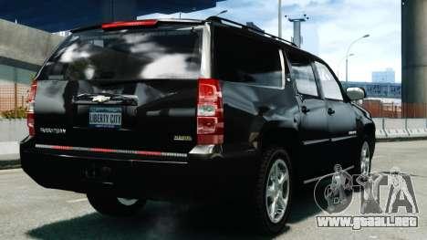 Chevrolet Suburban 2008 FBI [ELS] para GTA 4 Vista posterior izquierda