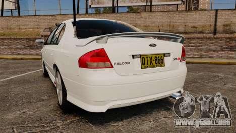 Ford Falcon XR8 Police Unmarked [ELS] para GTA 4 Vista posterior izquierda
