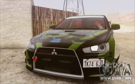 Mitsubishi Lancer Evolution X 2008 para vista inferior GTA San Andreas