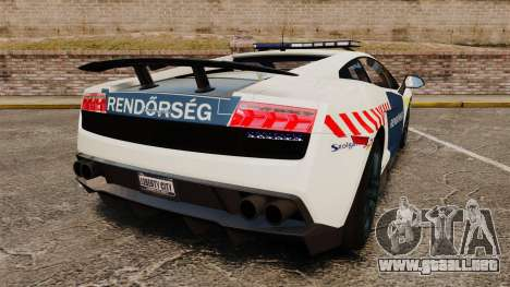 Lamborghini Gallardo Hungarian Police [ELS] para GTA 4 Vista posterior izquierda
