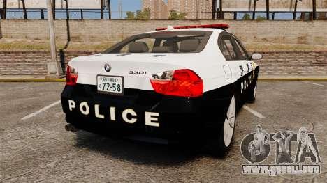 BMW 350i Japanese Police [ELS] para GTA 4 Vista posterior izquierda