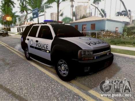 Chevrolet TrailBlazer Police para vista inferior GTA San Andreas