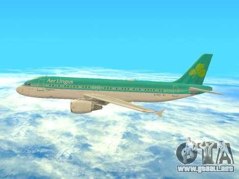 Airbus A320-200 Aer Lingus para vista inferior GTA San Andreas