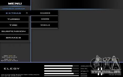 Tuning Mod 0.9 para GTA San Andreas segunda pantalla