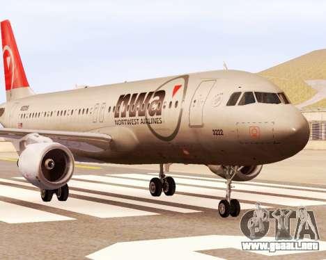 Airbus A320 NWA para GTA San Andreas vista posterior izquierda