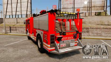 Fire Truck v1.4A LSFD [ELS] para GTA 4 Vista posterior izquierda