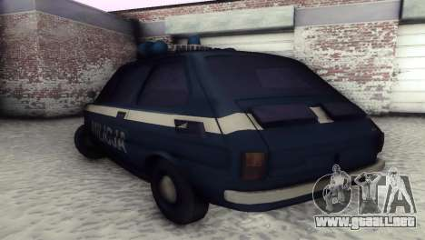 Fiat 126p milicja para GTA San Andreas vista hacia atrás
