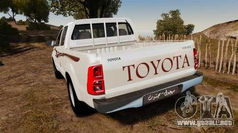 Toyota Hilux 2014 para GTA 4 Vista posterior izquierda