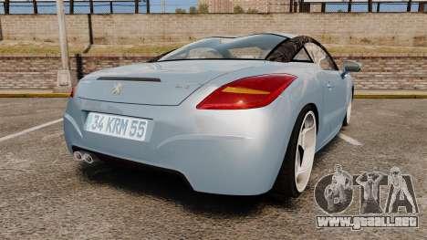 Peugeot RCZ para GTA 4 Vista posterior izquierda