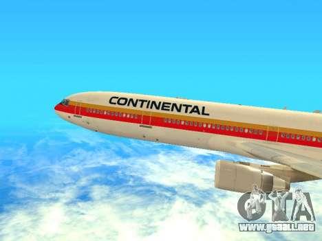 McDonnell Douglas MD-11 Continental Airlines para GTA San Andreas vista posterior izquierda