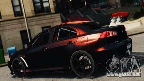 Mitsubishi Lancer Evolution X 2008 Black Edition para GTA 4 left