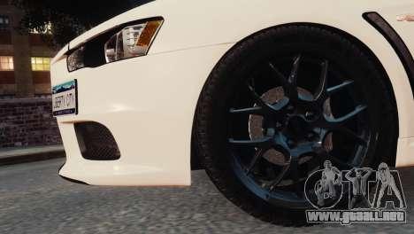 Mitsubishi Lancer Evolution X 2008 para GTA 4 visión correcta