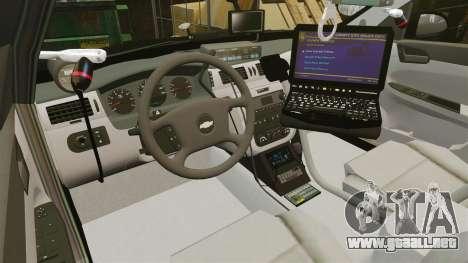 Chevrolet Impala 2010 LS Unmarked K9 Unit [ELS] para GTA 4 vista hacia atrás