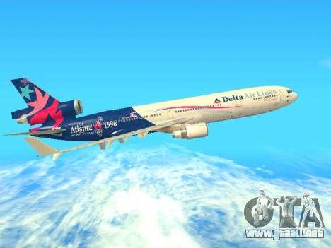 McDonnell Douglas MD-11 Delta Airlines para GTA San Andreas vista hacia atrás
