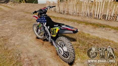 Kawasaki KX250F Monster KX USA para GTA 4 visión correcta