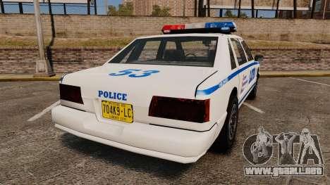 GTA SA Police Cruiser LCPD [ELS] para GTA 4 Vista posterior izquierda