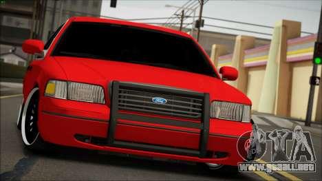 Ford Crown Victoria para GTA San Andreas vista hacia atrás