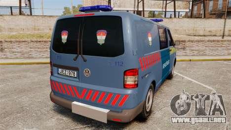 Volkswagen Transporter T5 Hungarian Police [ELS] para GTA 4 Vista posterior izquierda