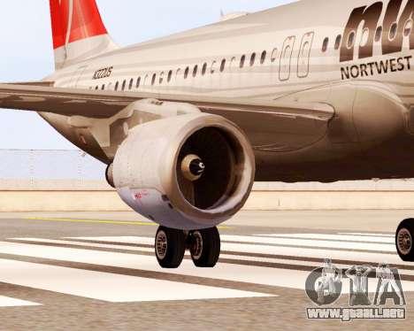Airbus A320 NWA para la visión correcta GTA San Andreas