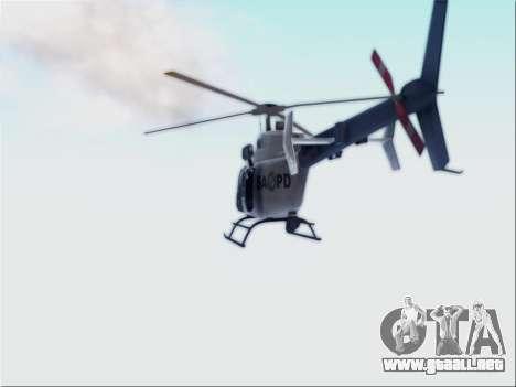 Bell 407 SAPD para GTA San Andreas vista posterior izquierda