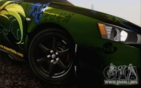 Mitsubishi Lancer Evolution X 2008 para vista lateral GTA San Andreas