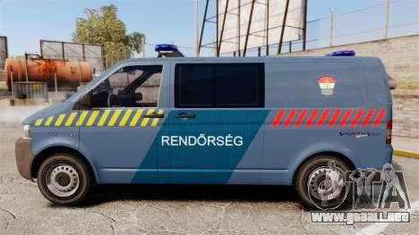 Volkswagen Transporter T5 Hungarian Police [ELS] para GTA 4 left