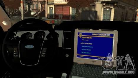 Ford Police Interceptor LCPD 2013 [ELS] para GTA 4 visión correcta