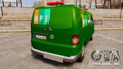 Volkswagen Transporter T5 Hungarian Post [ELS] para GTA 4 Vista posterior izquierda