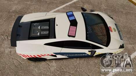 Lamborghini Gallardo Hungarian Police [ELS] para GTA 4 visión correcta