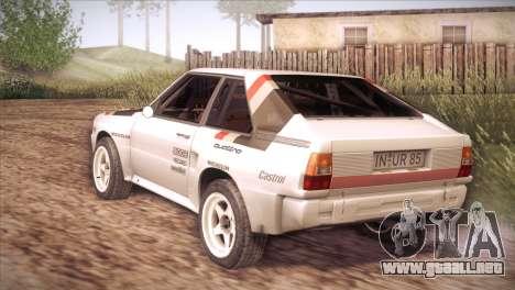 Audi Sport Quattro 1984 para GTA San Andreas vista posterior izquierda