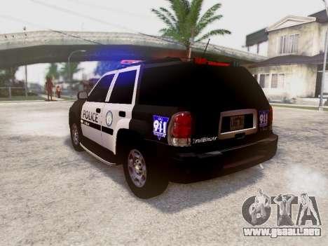 Chevrolet TrailBlazer Police para GTA San Andreas vista posterior izquierda