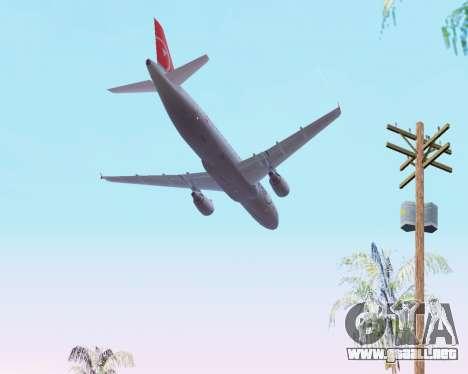Airbus A320 NWA para la vista superior GTA San Andreas